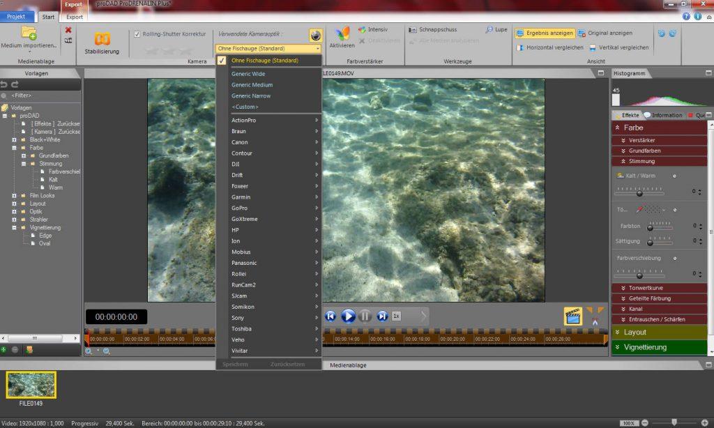 ProDrenalin 2.0 - Überarbeitete und neue Menüs zum Bearbeiten der Videos.