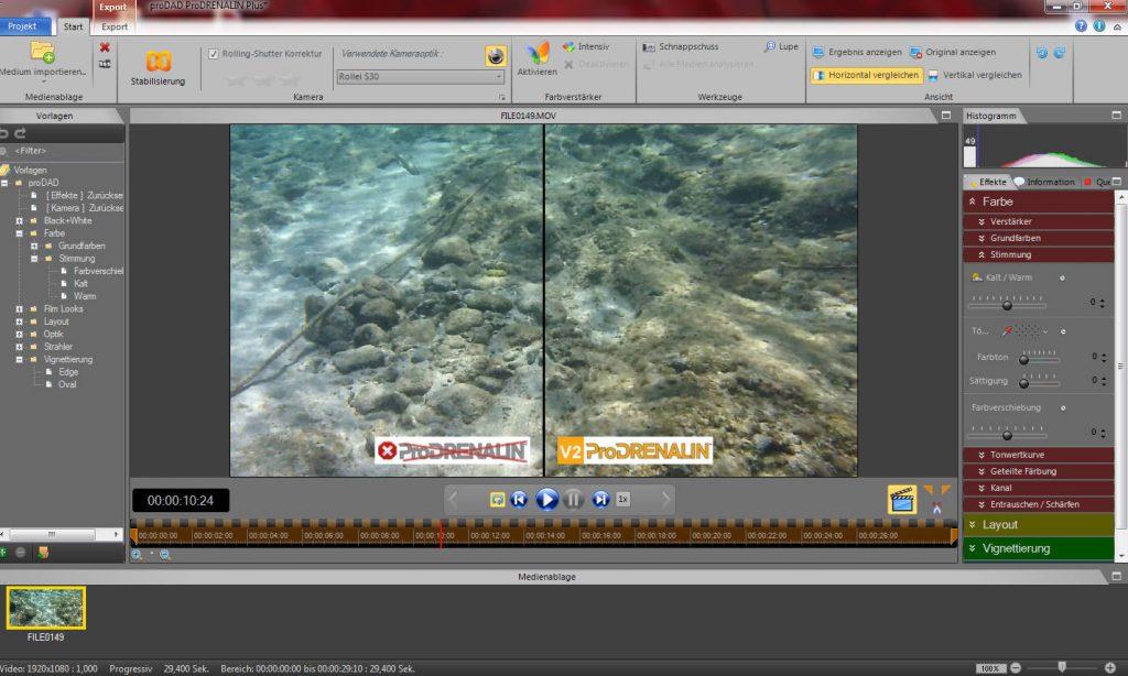 Der geteilte Bildschirm erlaubt einen direkten Vergleich zwischen Original und bearbeitetem Video.